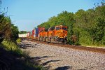 BNSF 7455 leads a EB stack train into the morning Sun!