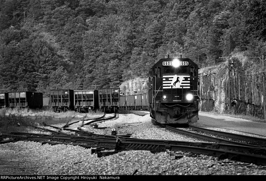 NS coal train passing through the yard - summer of 2000