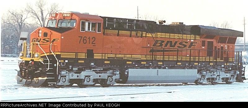 BNSF 7612 IN THE SNOW AT ARGENTINE YARD, KANSAS CITY, KS
