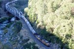 Westbound grain train through the Feather River Canyon