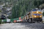 Westbound intermodal just out of the tunnel
