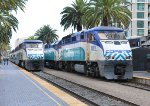 SDNR 3001 & SDNR 3002 (F59PHI's) on northbound commuter trains at San Diego CA. 8/29/2013