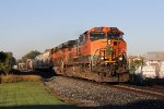 BNSF 1001 & 6641 roll east through the morning shadows with Q326-10