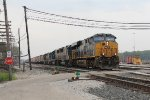 Q326 pulls east to begin doubling the 50+ potash cars on the headend over to the mainline