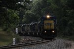 Q335 rounds the curve near Seymour led by 7 engines including 3 picked up from a G010 at Lansing