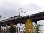 Two trains on the bridge