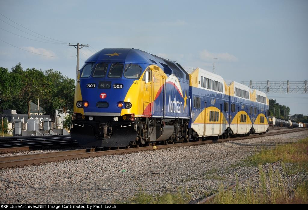 Commuter train continues east