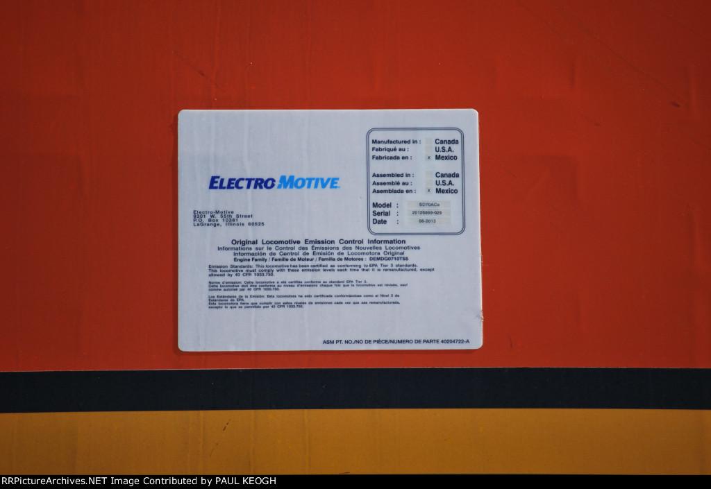 BNSF 8778 EMD's Locomotive Data Plate Built August 2013 at EMD's locomotive Plant in Sahagun, Mexico.