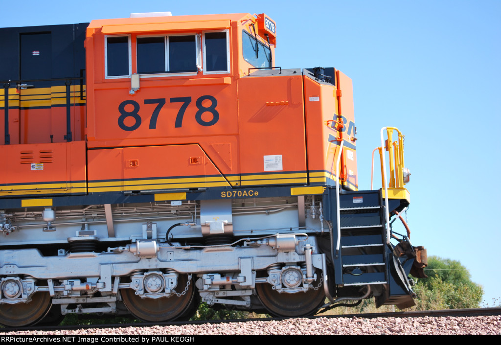 BNSF 8778 passes abeam me as she pulls Her 126 Loaded Coal Cars towards BNSF Lincoln!!!