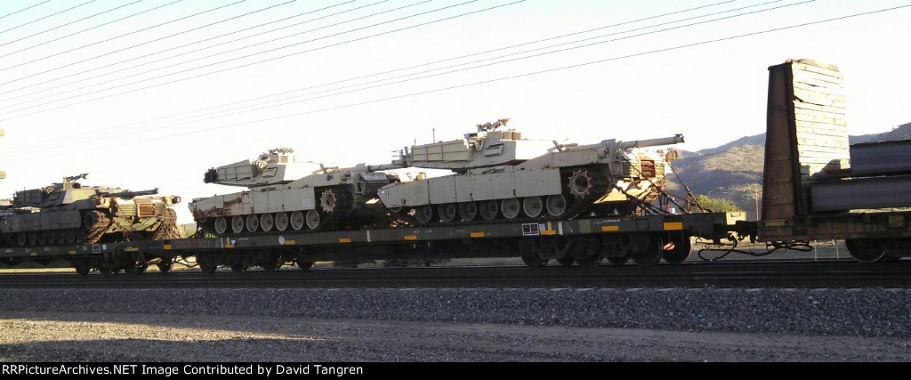 Flatcars Carrying M1 Abrams Tanks