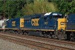 CSX GP40-2 6457 and Road Slug (GP35 shell) 2230 trails on Q439-03
