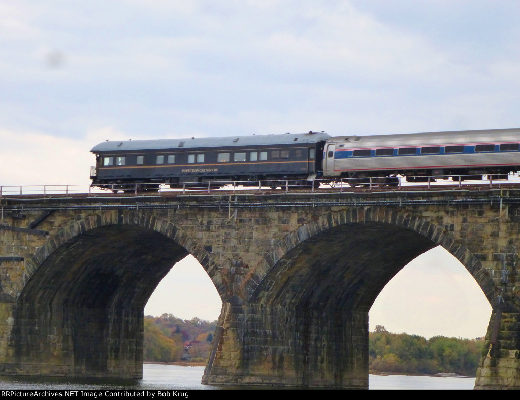 Private Varnish carried the markers on the westbound Pennsylvanian -  Inspection Car Navy 118