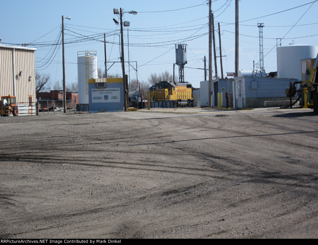 Union Pacific GP38-2 no. 732 and HLCX GP38-2 no. 1057 at the engine servicing facility in the yard