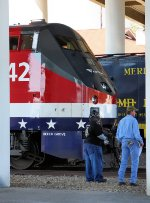 Amtrak mechanical staff on hand to put the trains together