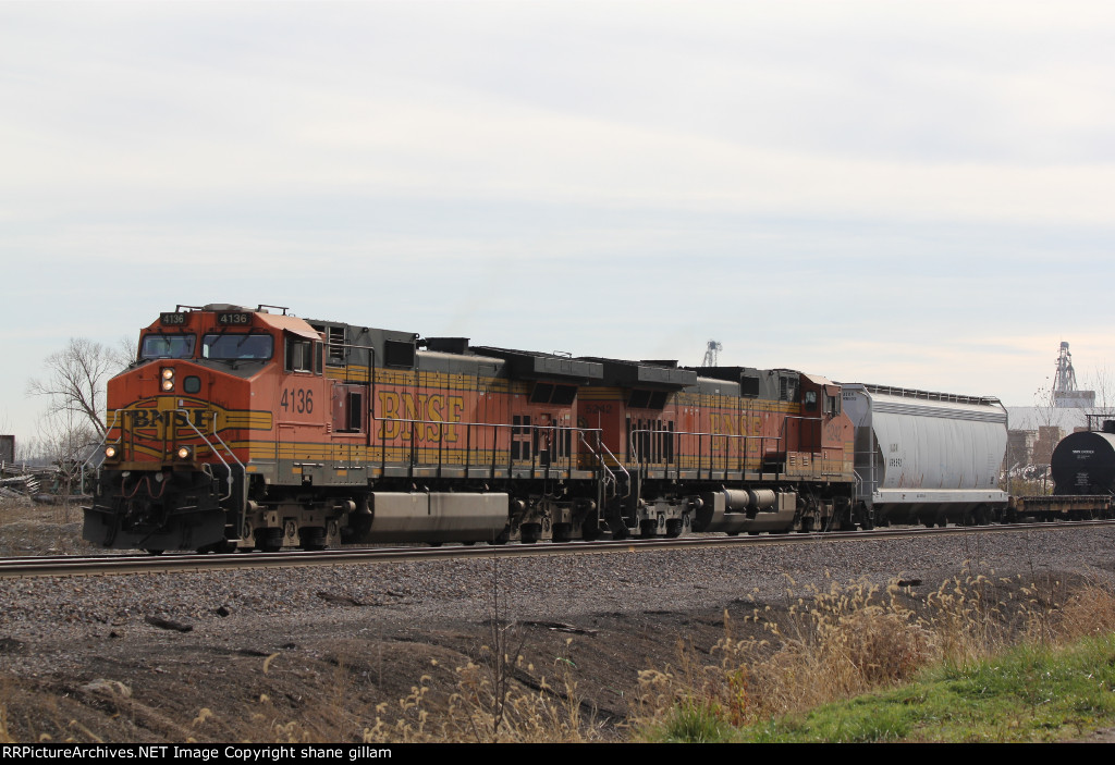 BNSF 4136 Slow's for a meet at Old Monroe Mo.