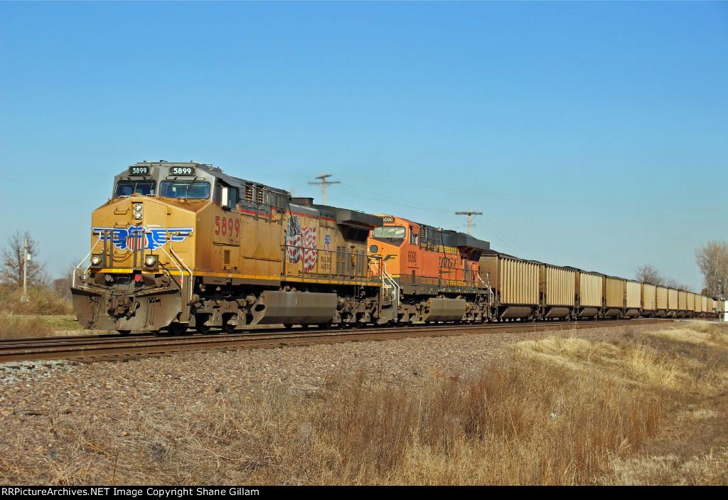 UP 5899 Leads a loaded coal train SB.