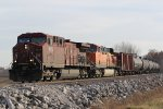 CP 9579 Heads up a empty BNSF Oil can.