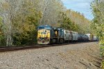 Solid Csx power on a Sb Up freight train.