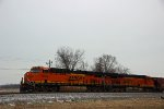 BNSF 6643 Waits for track work to clear ahead.