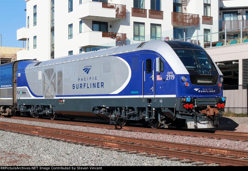 Caltrans Charger CDTX #2119 pushes Amtrak train #777 towards L.A.