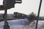 The Kirk yard to Elkhart train in harsh light