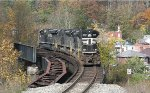 NS pusher on bridge over the abandoned NW Bluestone branch