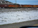 BNSF C44-9W 4171 and ES44DCs 7433 and 7213 with a train somewhere between Billings and Livingston, Montana