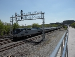 Spring is starting to make its presence known in the DC region as an Amtrak regional nears Washington DC.