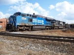 Ex-Conrail Big Blue leads an NS train over the CSX Interlock