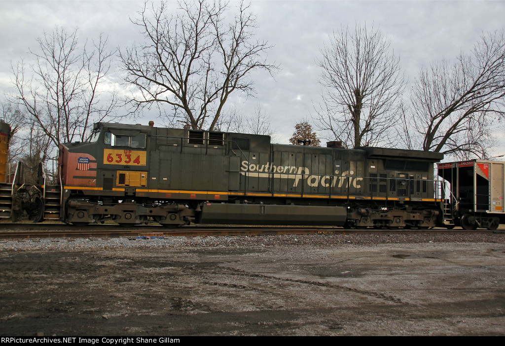 UP 6334 trails 2nd out on a coal train.