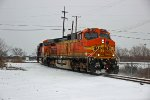 BNSF 4513 Leads a loaded oil can SB out of the yard,