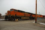 BNSF 6799 Heads out of the Alton and Southern yard.
