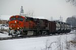 BNSF 6297 Heads up a empty crude oil can.