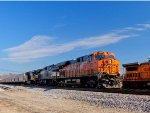 BNSF 7833 leading a couple of thoroughbreds