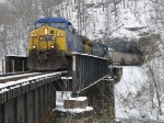 CSX 70 rolls out of Blue Tom Tunnel on the Coal Fork Sub.