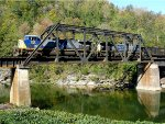 CSX 227 rolls over the Russell Fork River...