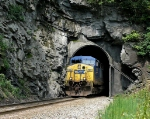 CSX 150 exits the seldom seen south side of Stateline Tunnel in the Breaks Gorge.