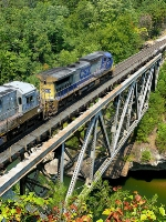 CSX 7605 makes like a trapeze artist over the Breaks Gorge.