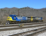 "CSX 445 getting ready to couple to a coal drag to ""push"" it through the Breaks."