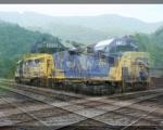 CSX 2293 & CSX 6938 under a backdrop of Pine Mountain.