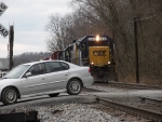 CSX local D786 has a close call with a moron motorist.