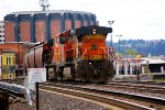 BNSF 5606 tail end heading thru Amtrak station Downtown Spokane