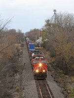With a small block of doublestacks at the headend, CN 2614 leads M344 south