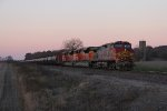 As dawn nears, BNSF 758 leads the oil loads of U-TNDCXY east