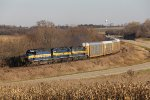 A three pack of blue & golds roll into the curve leading the 473