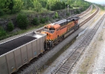 BNSF 5773 at end of unit coal train, on NS mainline
