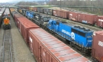 Six units pulled the mixed freight into the yard