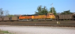 BNSF 9917 and BNSF 5833 idling in the yard in the late afternoon
