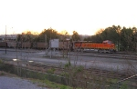 BNSF 5829, at the end of loaded RWSX coal train, at sunrise