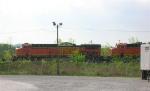 BNSF 5609 and BNSF 5882 waiting on mainline at Shipps Yards at mid-morning